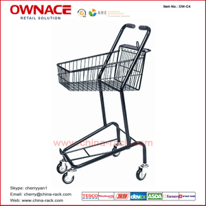 OW-C4Layers Wire Basket Trolley Supermarket Shopping Trolley/Cart with Different Capacity